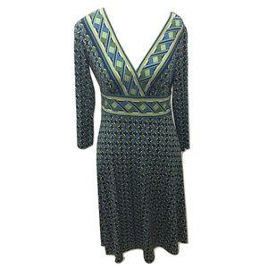 Maggy L Size 8 Dress Knit Sheath Blue Green Floral